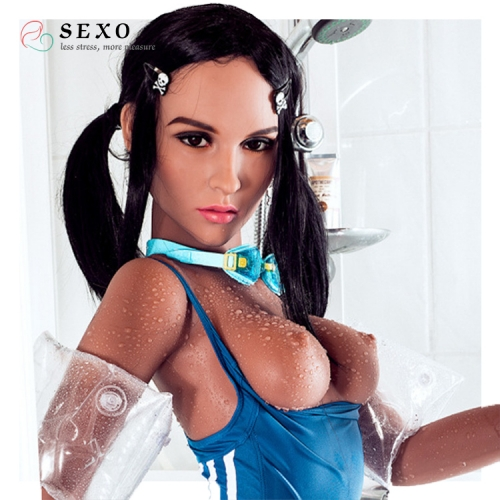 SEXO 157cm Wet body long black hair take a shower lovedolls silicone dolls